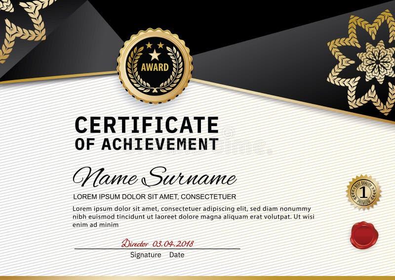 Oficjalny świadectwo docenienie nagrody szablon z kształtami i odznaką czarnymi i złotymi ilustracja wektor