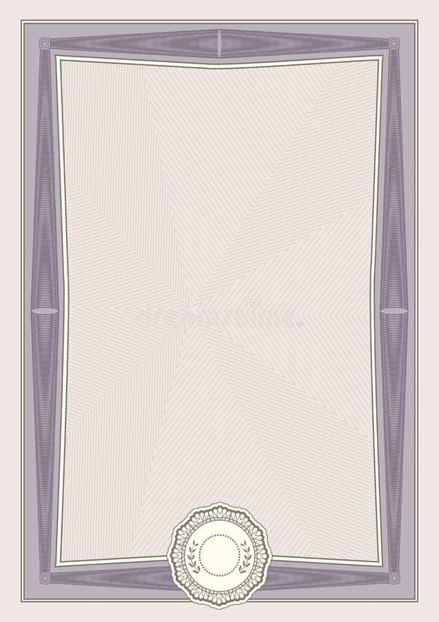 Oficjalny beżowy świadectwo a4 format z zmrokiem giloszuje granicę Oficjalny prosty puste miejsce royalty ilustracja