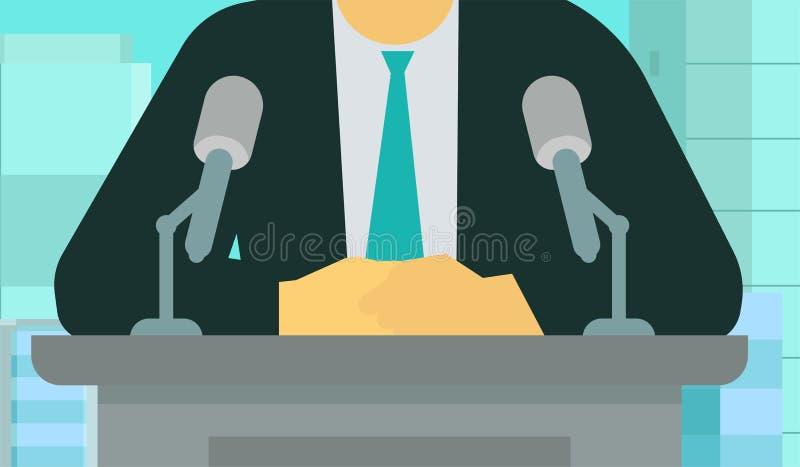 Oficjalny komunikat Mężczyzna robi mowa mikrofonowi ilustracja wektor