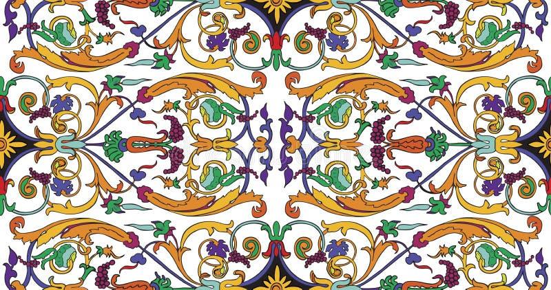 OfPersian prydnad för sömlös modell Blom- barock modell för tappning, italiensk perser stock illustrationer