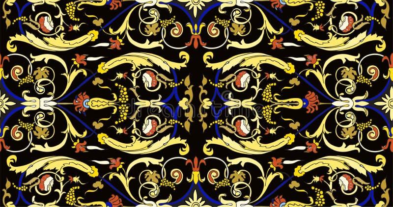 OfPersian prydnad f?r s?ml?s modell Blom- barock modell f?r tappning, italiensk perser stock illustrationer