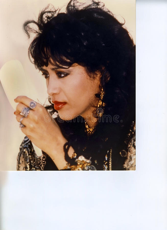 Ofra Haza. Israeli mega-star singer/recording artist, Ofra Haza, posing in traditional Yemenite attire, with a scenic backdrop of Jerusalem, was her country`s royalty free stock images