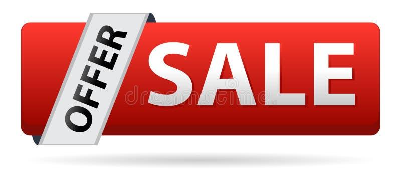 Ofrezca a botón del web de la venta el color rojo en blanco stock de ilustración