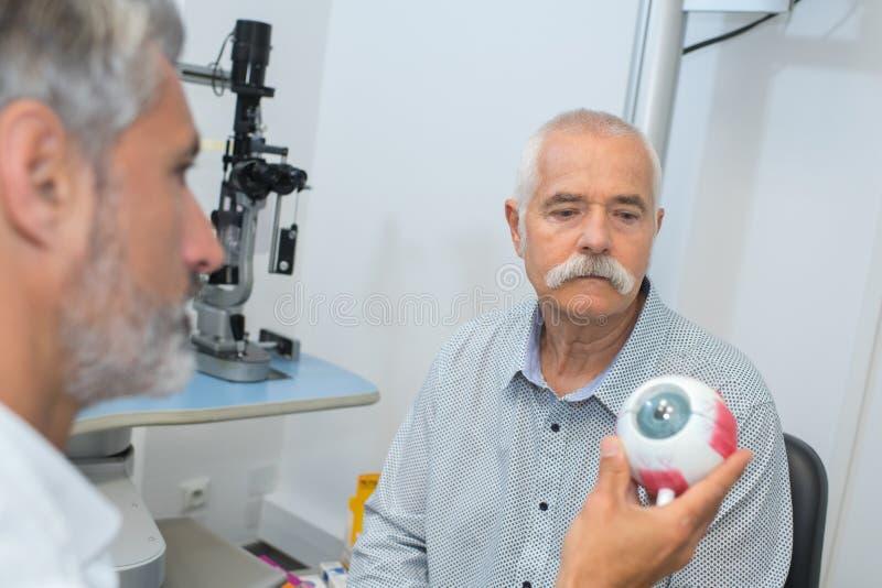 Oftalmólogo hermoso con el modelo del ojo en paciente delantero foto de archivo