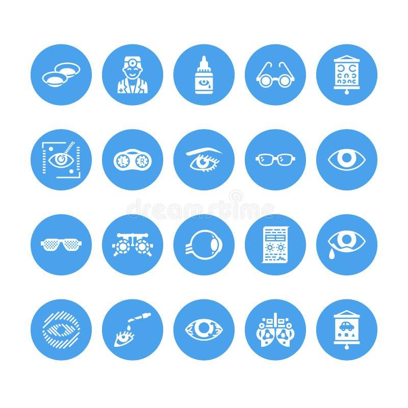 Oftalmología, iconos del glyph de la atención sanitaria de los ojos Equipo de la optometría, lentes de contacto, vidrios, ceguera libre illustration
