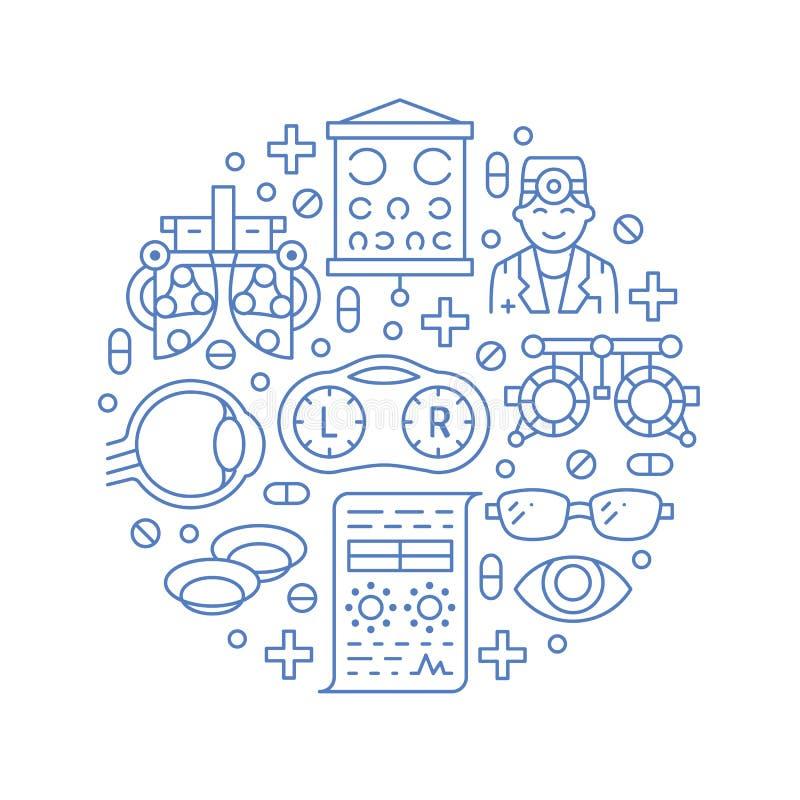 Oftalmologi portvakt för ögonhälsovårdcirkel med linjen symboler Optometryutrustning, kontaktlinser, ögonexponeringsglas, doktor royaltyfri illustrationer