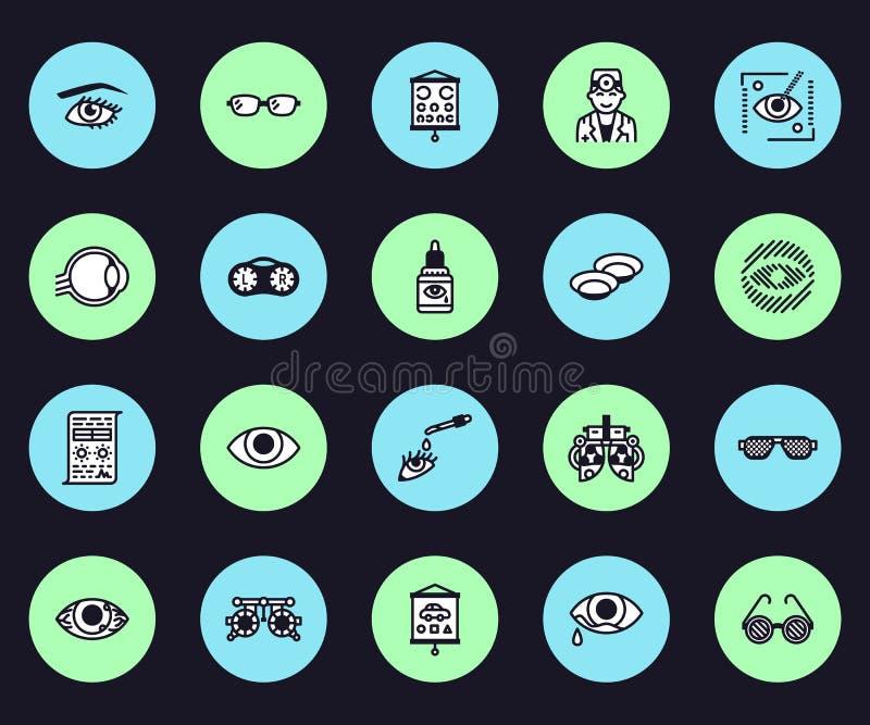 Oftalmologia, linea icone di vettore di sanità degli occhi Attrezzatura dell'optometrista, lenti a contatto, vetri, cecità, laser royalty illustrazione gratis