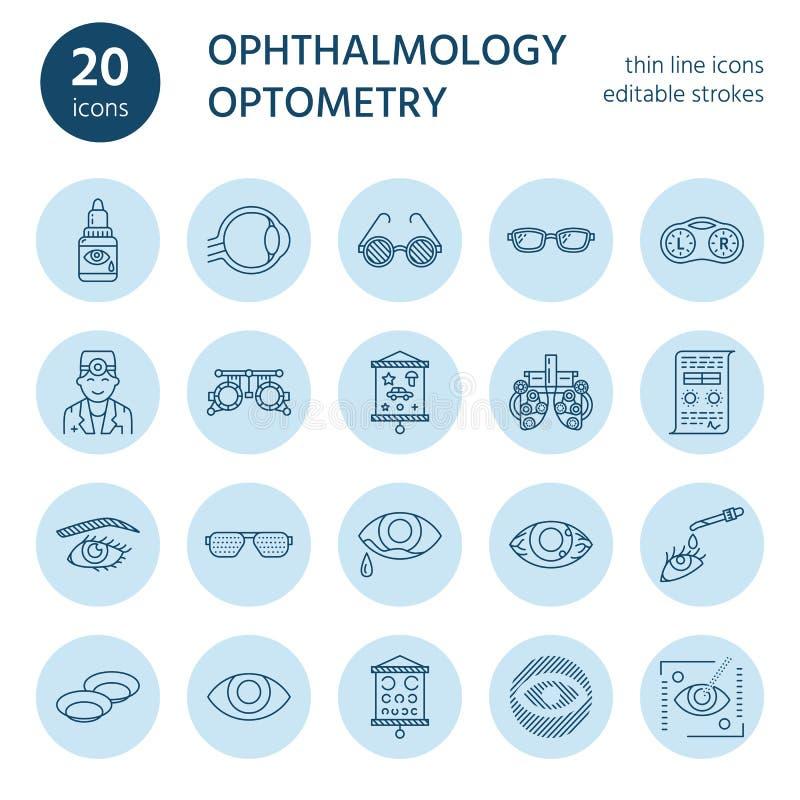 Oftalmologia, linha ícones dos cuidados médicos dos olhos Equipamento da optometria, lentes de contato, vidros, cegueira Correção ilustração do vetor
