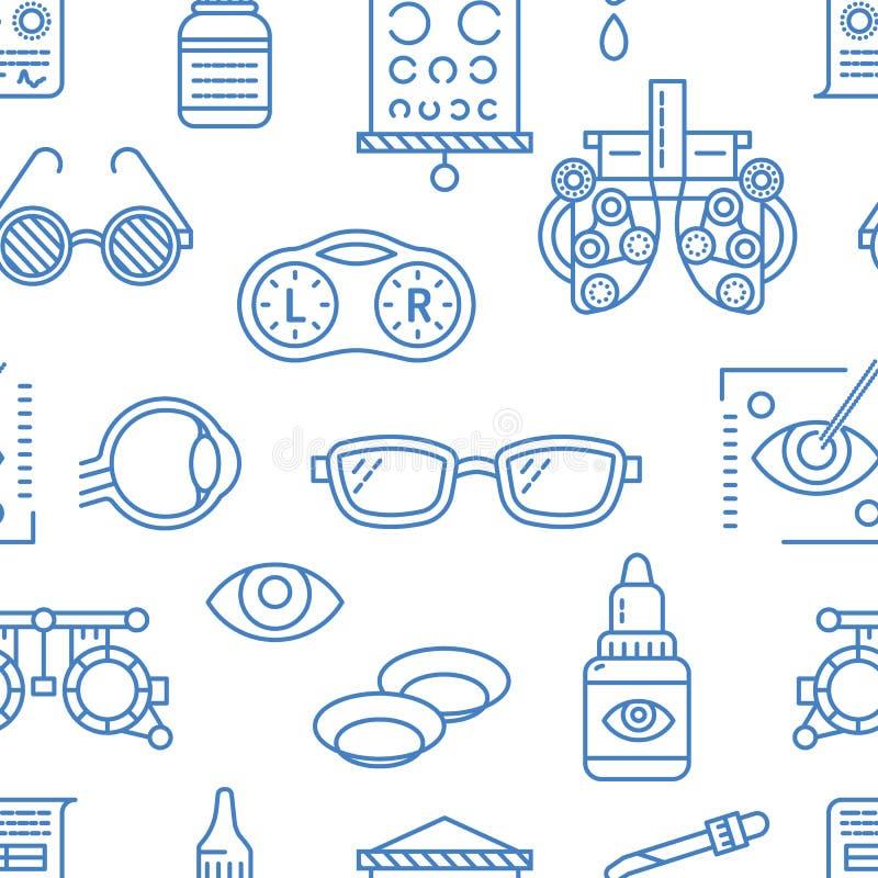 Oftalmologia, modello senza cuciture di sanità degli occhi, fondo medico del blu di vettore Attrezzatura di optometria, lenti a c illustrazione di stock