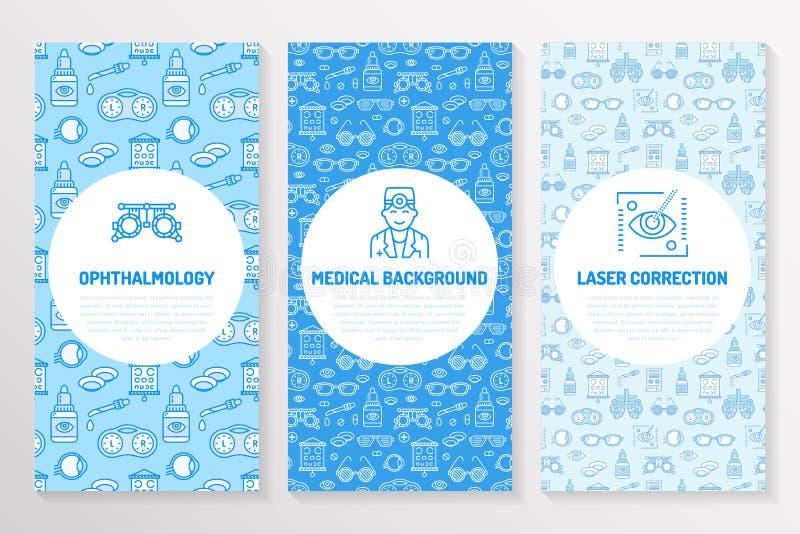 Oftalmologia, molde médico do folheto, inseto Eye a linha fina correção dos cuidados médicos da visão do laser dos ícones, verifi ilustração stock