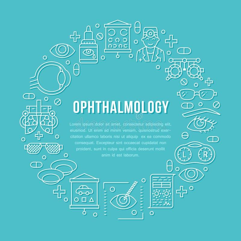 Oftalmologia, portatore del cerchio di sanità degli occhi con la linea icone Attrezzatura di optometria, lenti a contatto, vetri  royalty illustrazione gratis