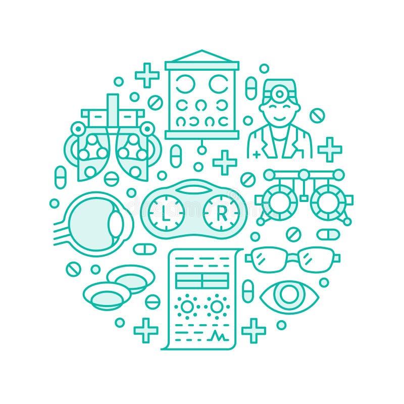 Oftalmologia, porteiro do círculo dos cuidados médicos dos olhos com linha ícones Equipamento da optometria, lentes de contato, v ilustração royalty free