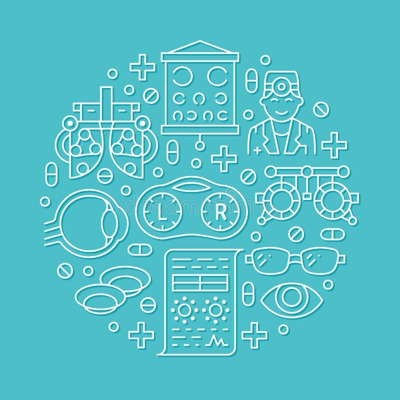 Oftalmologia, porteiro do círculo dos cuidados médicos dos olhos com linha ícones Equipamento da optometria, lentes de contato, v ilustração stock