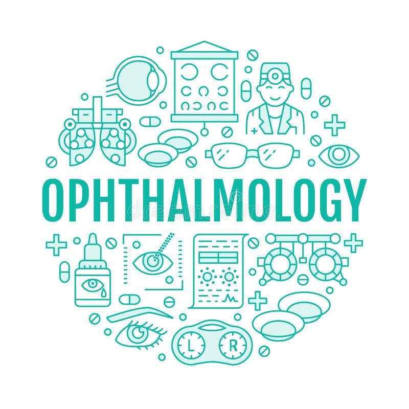 Oftalmologia, porteiro do círculo dos cuidados médicos dos olhos com linha ícones Sinais do folheto da correção da visão para a c ilustração do vetor