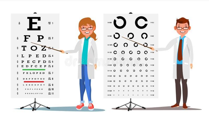Oftalmologidoktor Set Vector Kvinnlig man Medicinsk ögondiagnostik Ögonprovdiagram i klinik Diagnostik av myopi stock illustrationer