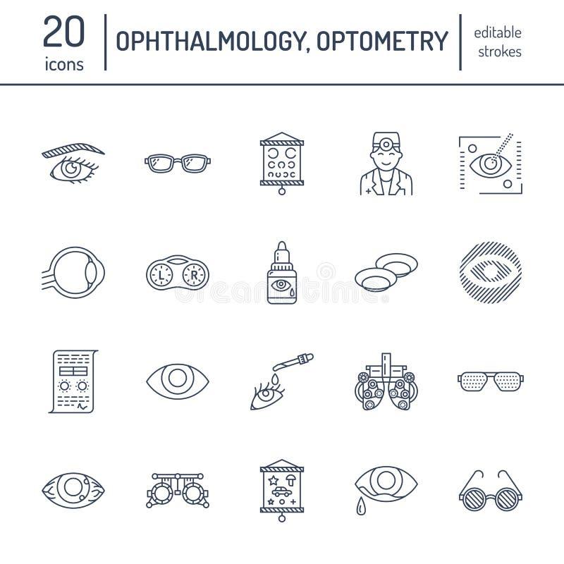 Oftalmologie, de lijnpictogrammen van de ogengezondheidszorg Optometriemateriaal, contactlenzen, glazen, blindheid Visiecorrectie stock illustratie