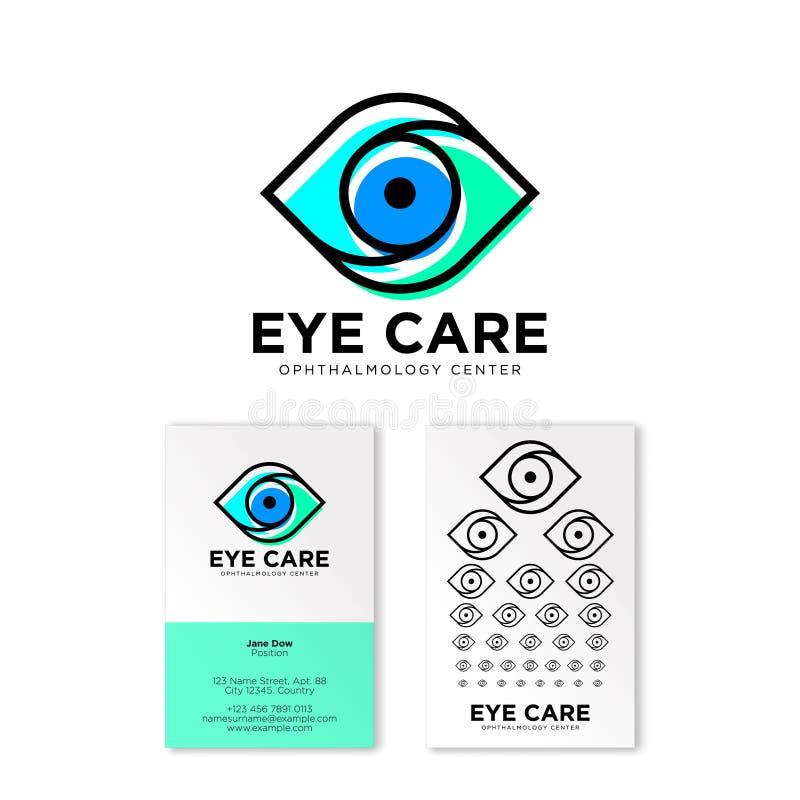 Oftalmologisch kliniek vlak embleem De emblemen van de oogzorg Contourembleem Creatief adreskaartje met een lijst van de testvisi vector illustratie