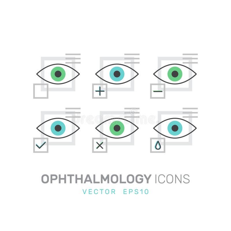 Oftalmologisjukvård, medicinsk diagnos, mänskligt visionbegrepp royaltyfri illustrationer