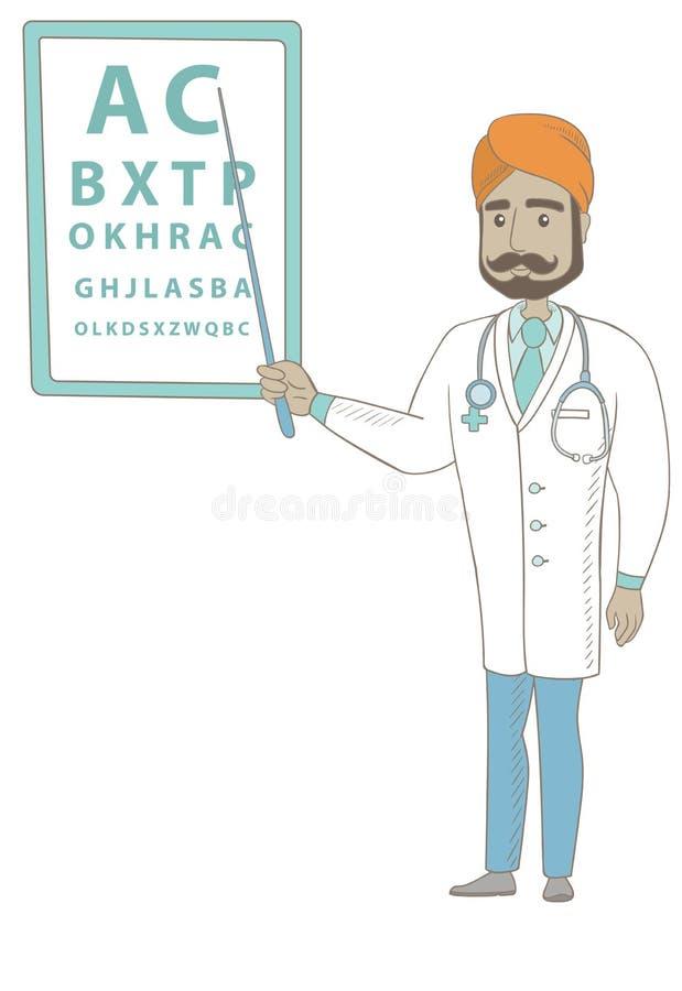 Oftalmologista indiano que aponta na carta de olho ilustração do vetor