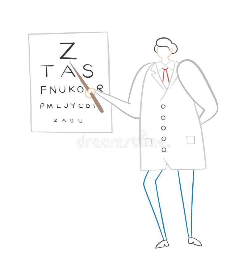Oftalmologo che mostra le lettere sul grafico di occhio, illustrazione disegnata a mano di vettore royalty illustrazione gratis