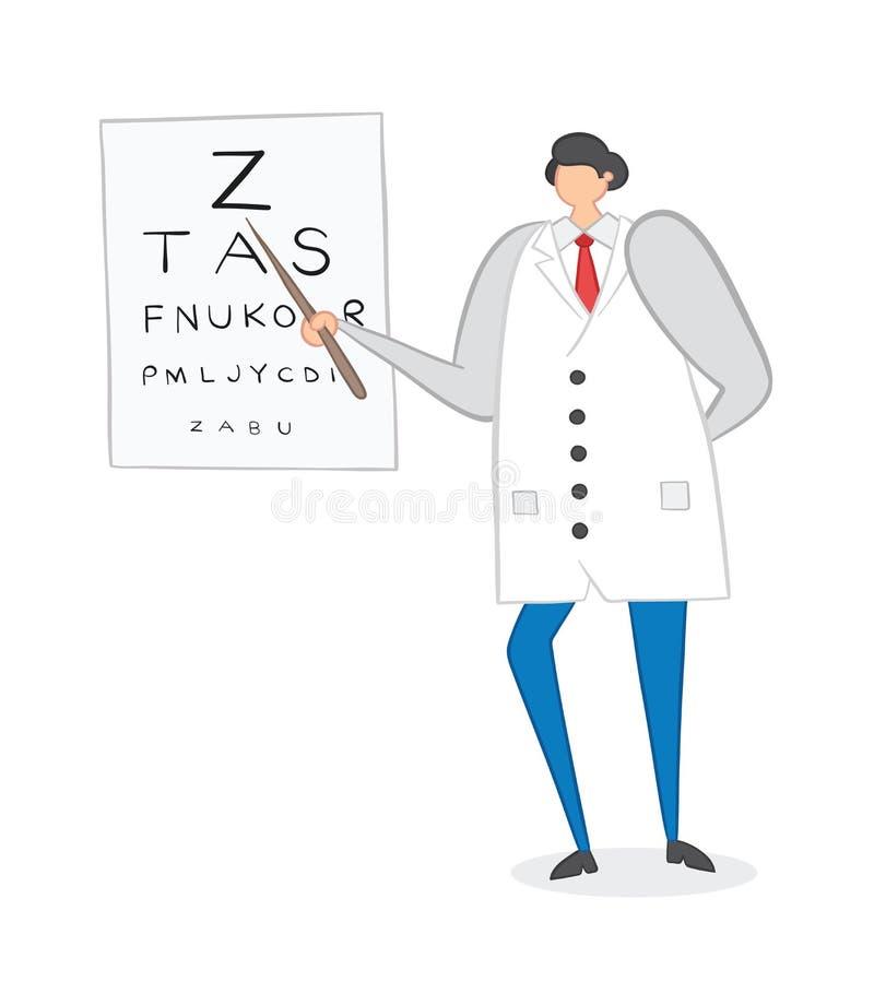 Oftalmologo che mostra le lettere sul grafico di occhio, illustrazione disegnata a mano di vettore illustrazione di stock