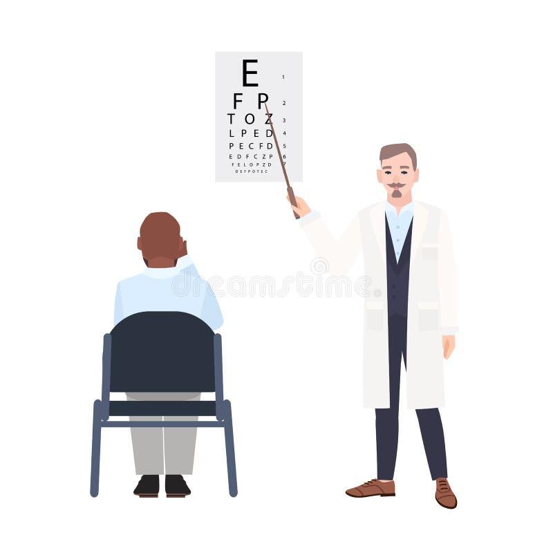 Oftalmologo con il puntatore che sta accanto al grafico di occhio e che controlla vista dell'uomo che si siede davanti  oculista illustrazione di stock