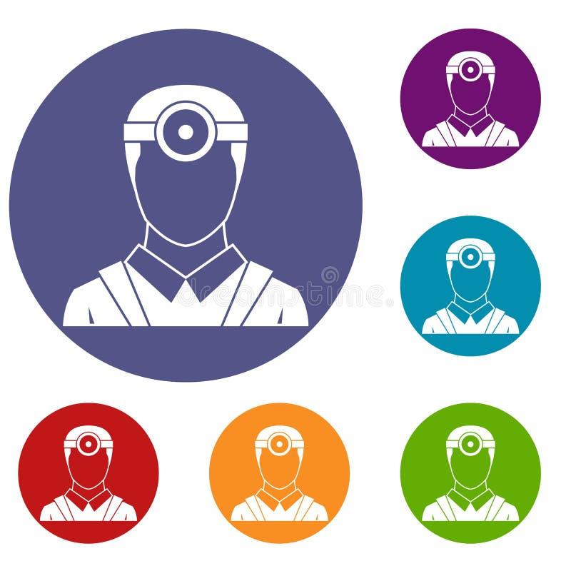 Oftalmologo con le icone cape dello specchio messe illustrazione vettoriale