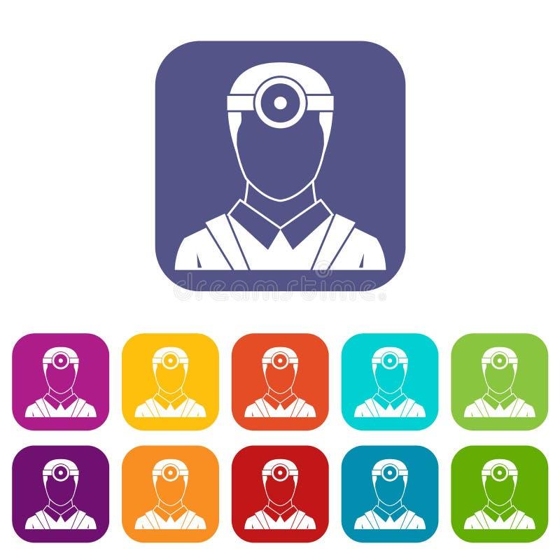Oftalmologo con le icone cape dello specchio messe royalty illustrazione gratis
