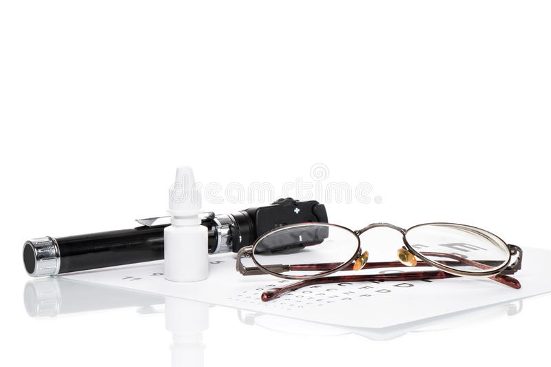 Oftalmoscopio, prova dell'occhio e vetri immagine stock