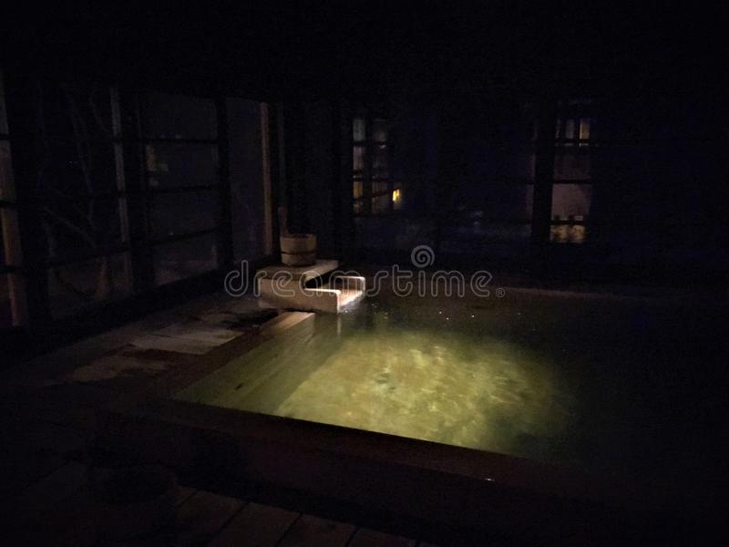 Ofuro, Japanese bath during the night royalty free stock images