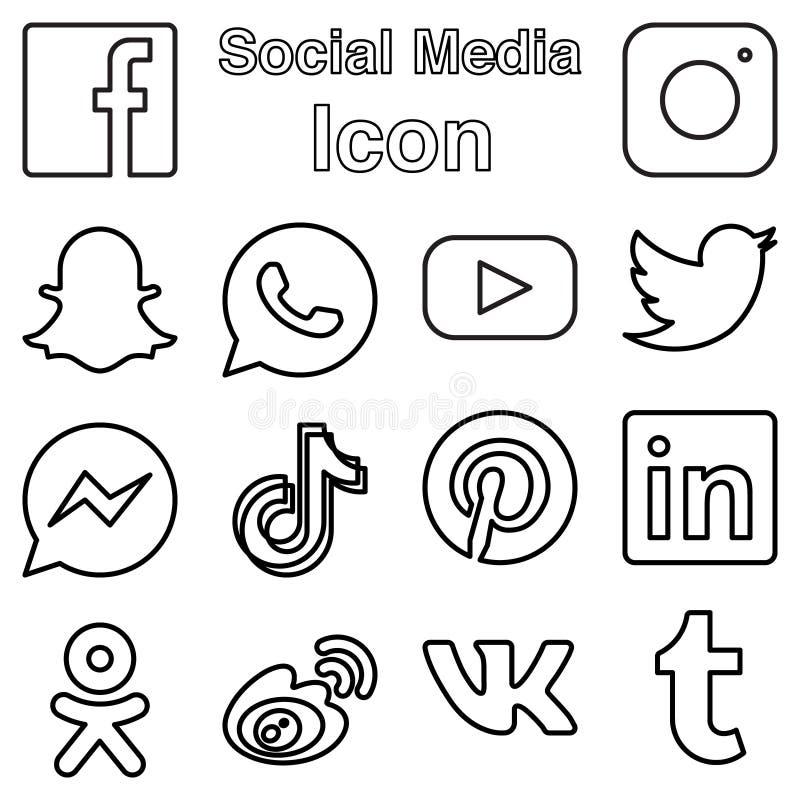 Ogólnospołeczna Medialna logo ikona Ustawiająca w kreskowym stylu również zwrócić corel ilustracji wektora royalty ilustracja