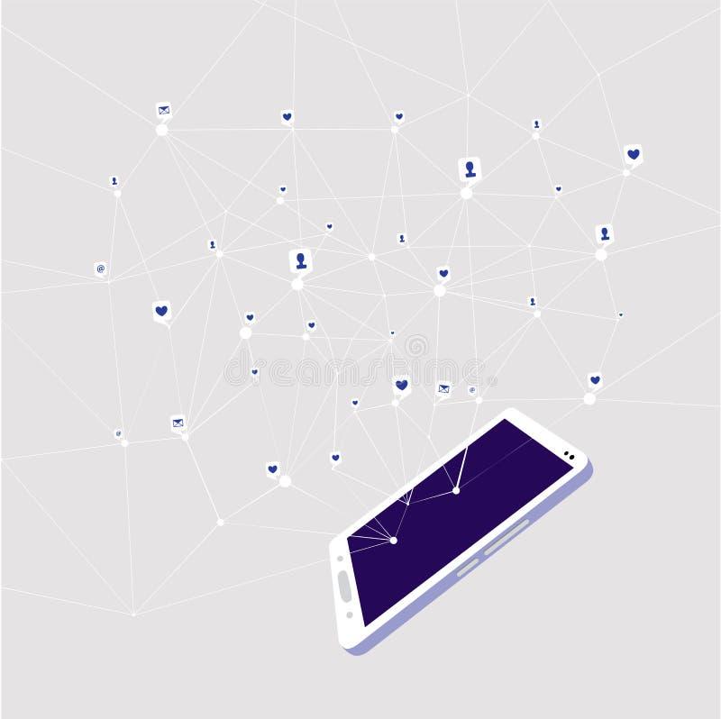 Ogólnospołeczne sieci, wszystkie kontakty w twój smartphone ilustracji