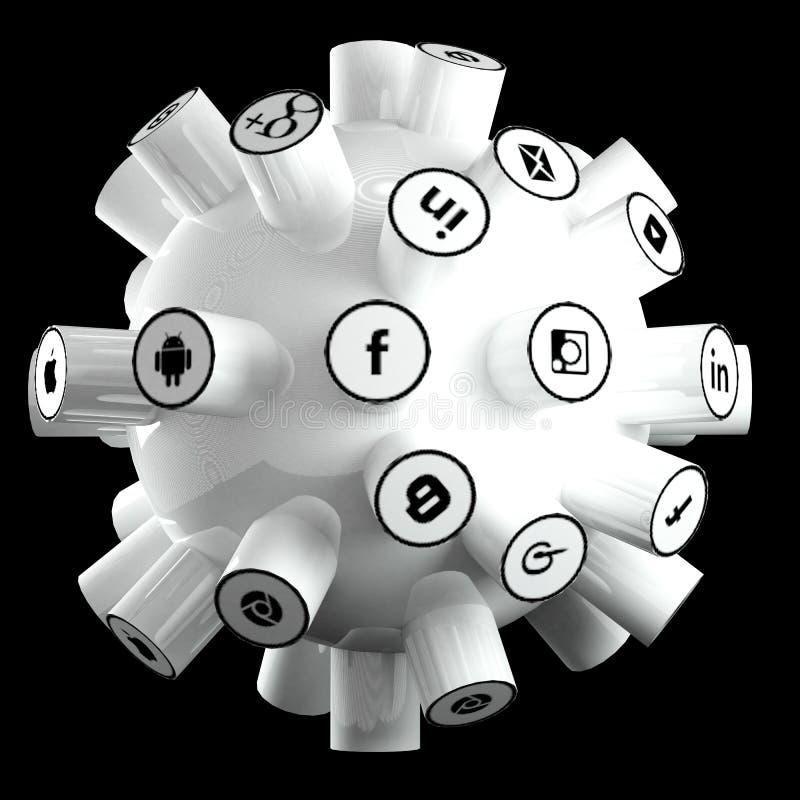 Ogólnospołeczni środki, ogólnospołeczna sieć, internet łączą 3d ilustrację ilustracji