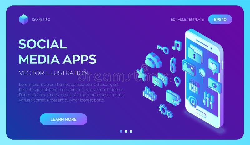 Ogólnospołeczni medialni apps na smartphone Ogólnospołeczne środków 3d isometric ikony apps mobilni Tworzący Dla wiszącej ozdoby, royalty ilustracja