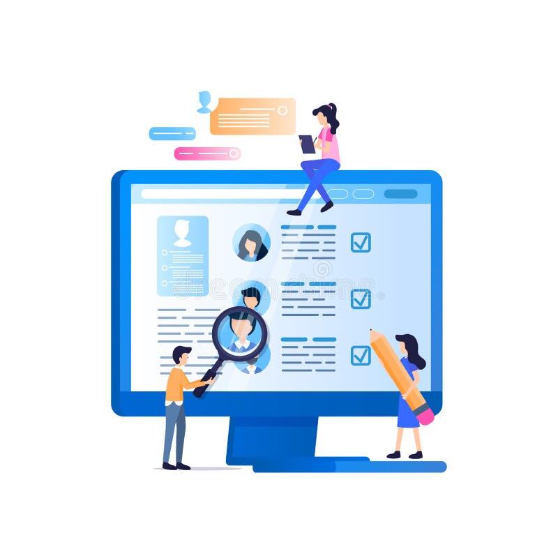 Ogólnospołeczny środka rekruta monitorowanie na laptopu ekranie ilustracji