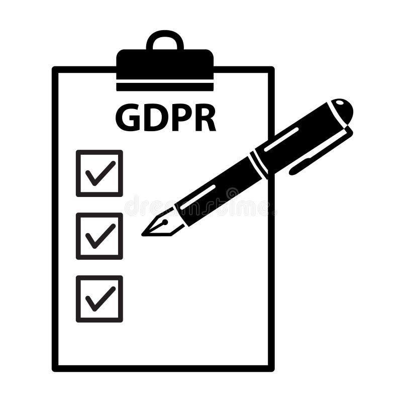 Ogólna dane ochrony przepisu czeka GDPR przygotowywająca kontrola conc ilustracji