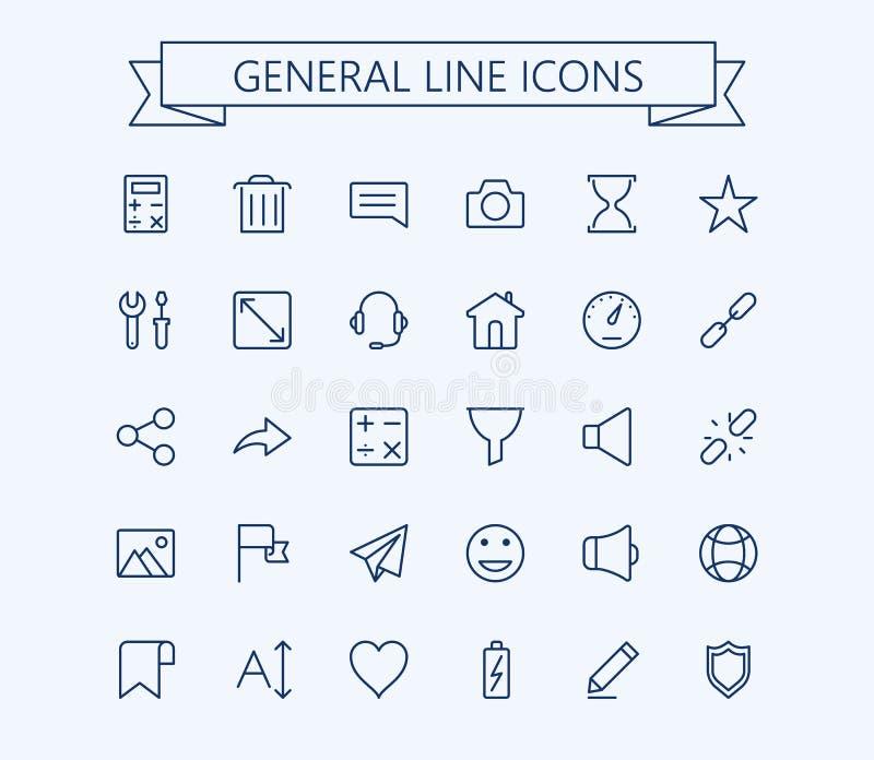 Ogólne wektorowe ikony ustawiają 2 Cienka kreskowa konturu 24x24 siatka Piksel Perfect royalty ilustracja