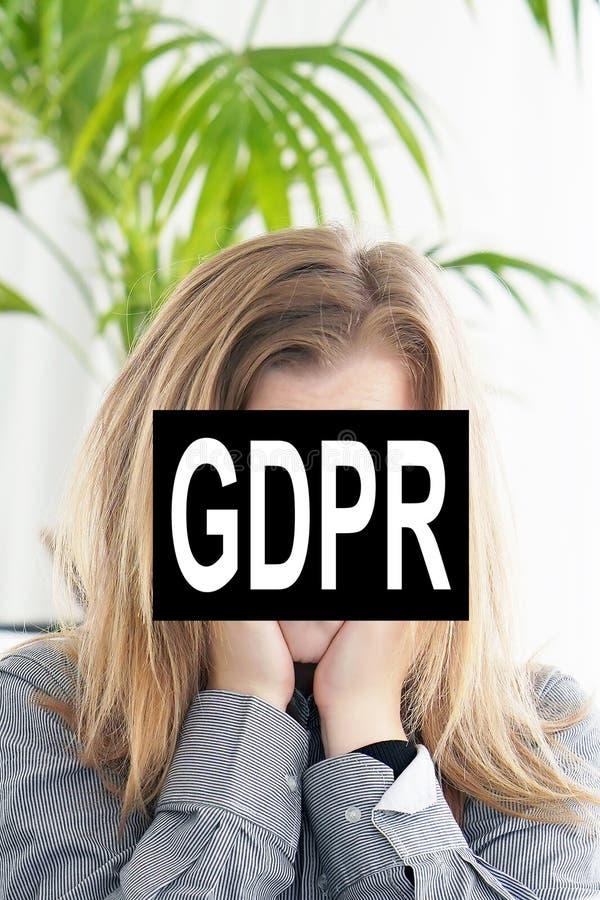 Ogólnego ochrona danych twarzy Przepisowa kobieta obrazy stock