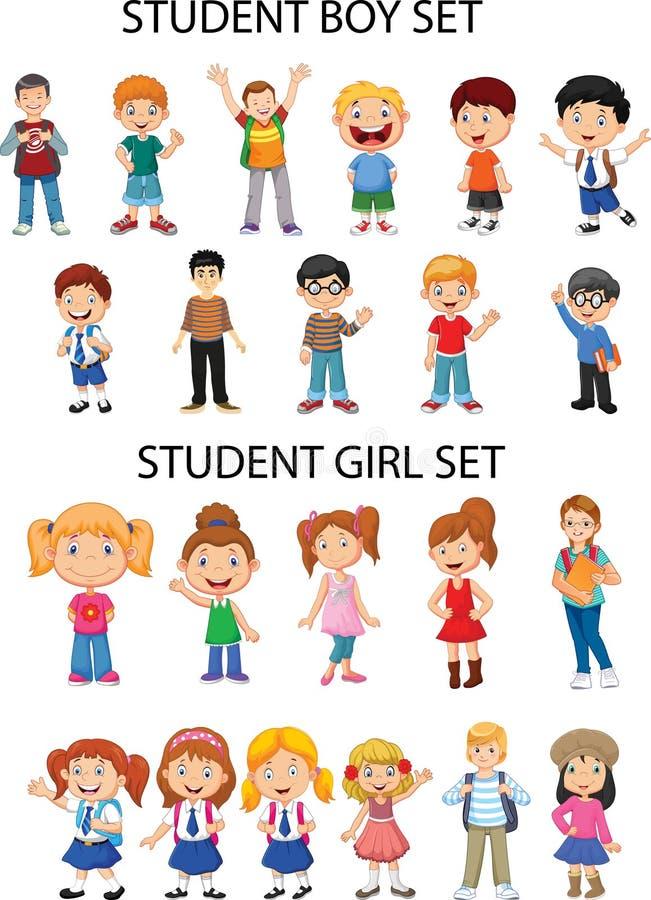 Ogólni materiały - dziewczyny i chłopiec postacie ilustracji