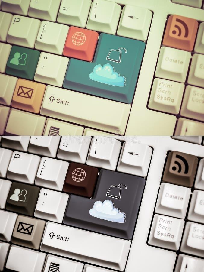 Ogólnoludzka interneta symbolu klawiatura z rocznika i grunge desig ilustracja wektor