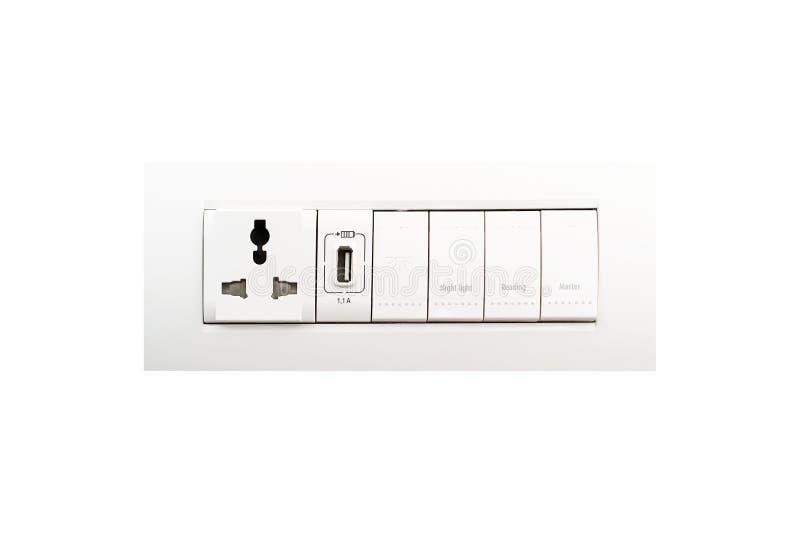 Ogólnoludzki ścienny ujście z USB portem i elektrycznym oświetleniem obrazy royalty free