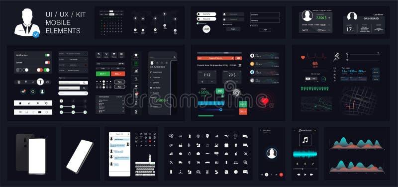 Ogólnoludzki interfejsu UI UX zestaw dla projektować wyczulone strony internetowe ilustracja wektor