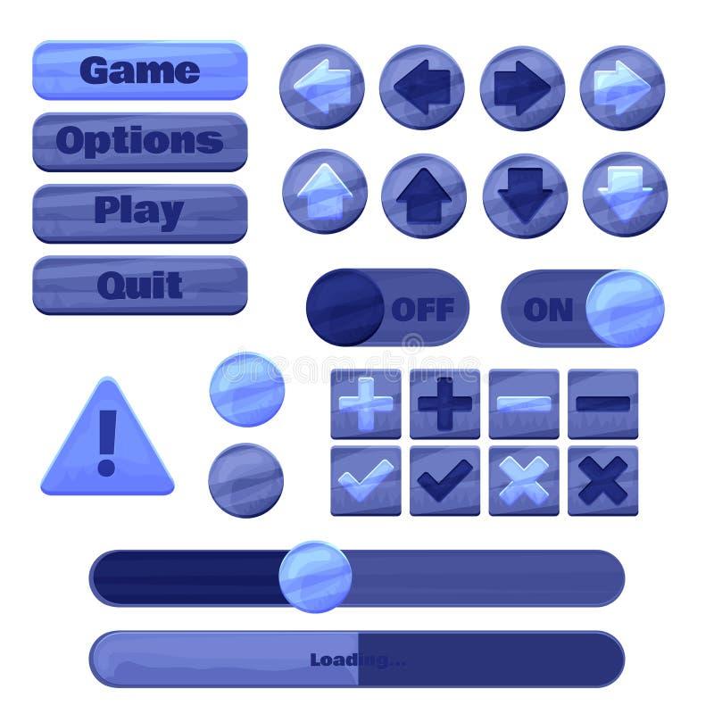 Ogólnoludzki UI zestaw dla projektować wyczulonych hazardów zastosowania, mobilne gry online, strony internetowe, mobilni apps i  ilustracja wektor