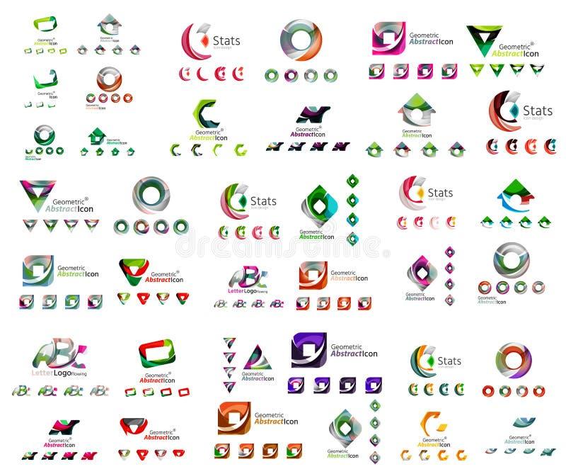 Ogólnoludzki ustawiający abstrakcjonistyczni logowie Biznes, app royalty ilustracja
