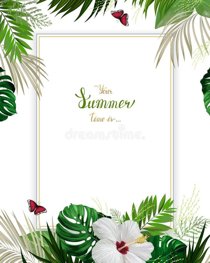 Ogólnoludzki zaproszenie, gratulacje karta z zieloną tropikalną palmą ilustracji