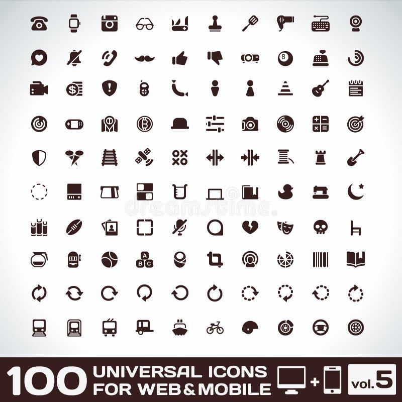 100 Ogólnoludzkich ikon Dla sieci i wiszącej ozdoby pojemności 5 royalty ilustracja