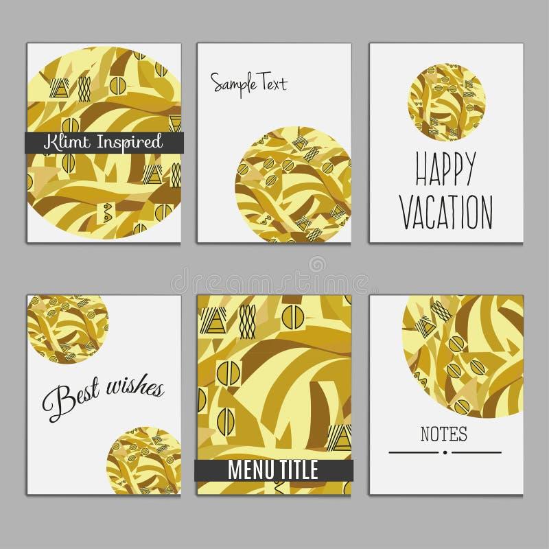 6 ogólnoludzkich szablonów dla menu pokrywy, ślubna karta, książkowa pokrywa royalty ilustracja