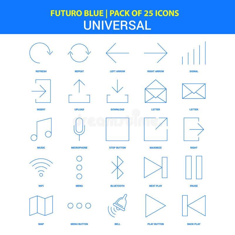 Ogólnoludzkie ikony - Futuro błękita 25 ikony paczka royalty ilustracja