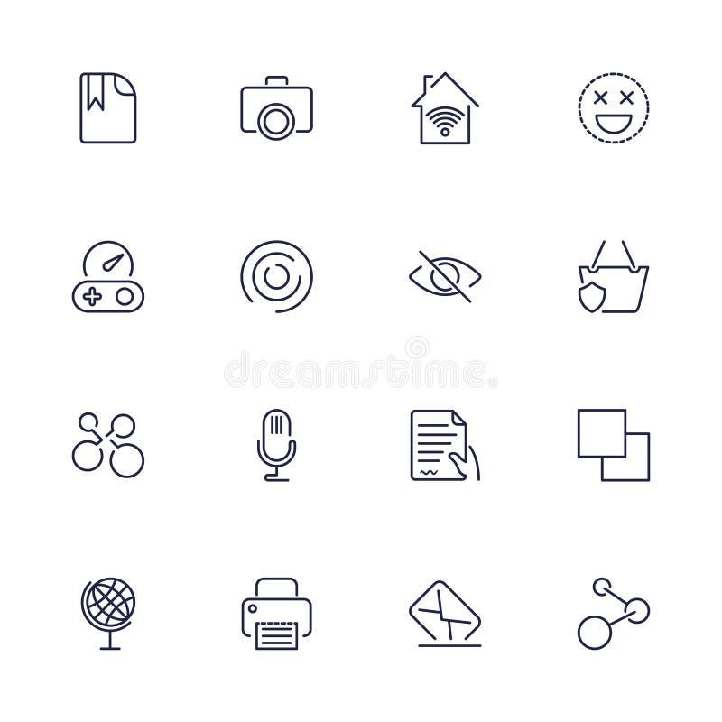 Ogólnoludzkie sieci ikony używać w sieci UI i wiszącej ozdobie, set podstawowa UI sieci elementów kartoteka, drukarka, poczta, gr ilustracja wektor