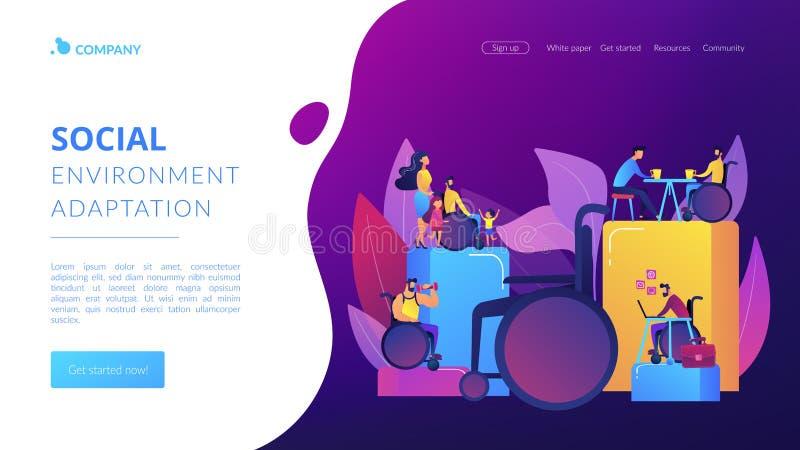 Ogólnospołeczna adaptacja niepełnosprawni pojęcia lądowania strony ilustracji